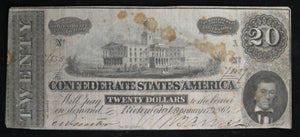 1864 Confederate States of America $20 Richmond Virginia #2