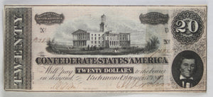 1864 Confederate States of America $20 Richmond Virginia