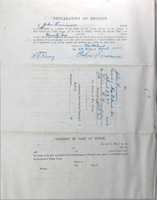 1864 enlistment private 1st Regiment of New Orleans Volunteers (Union)
