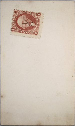 1865-66 calling card photo of bearded American man, with tax stamp