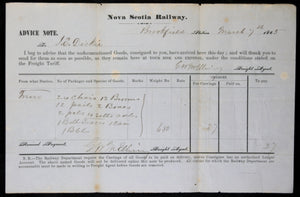 1865 Nova Scotia Railway, notice of goods arrived from Truro