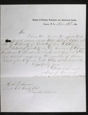 1865 letter concerning the Freedmen Bureau (Civil War), North Carolina