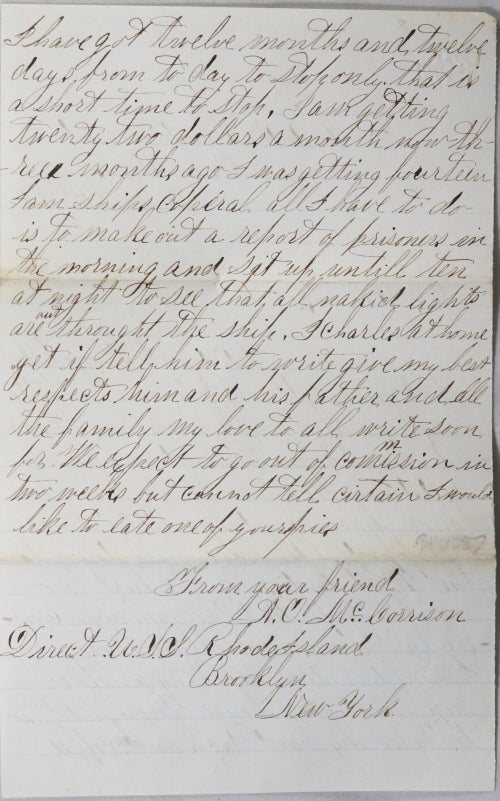1865 letter from sailor on board USS Rhode Island - rebellion!