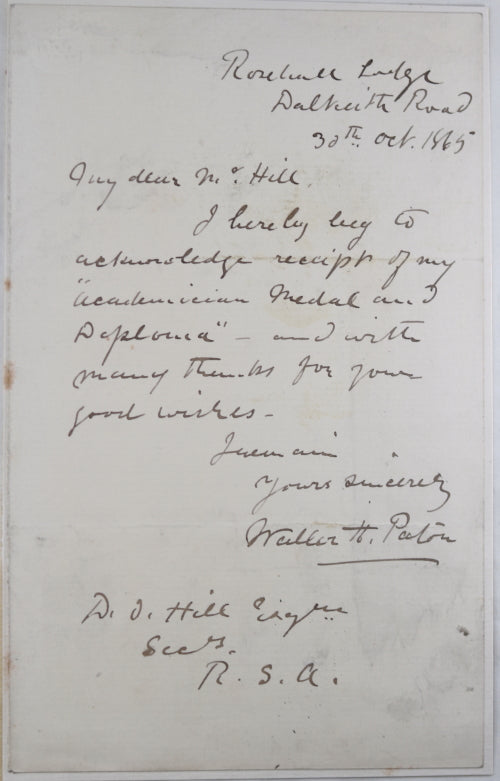 1865 signed letter from Scottish painter Waller Hugh Paton