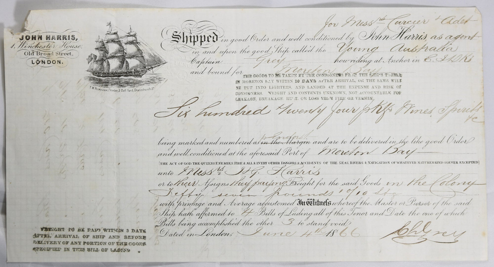 1866 maritime bill of lading, shipping wine & spirits London to Moreton Bay