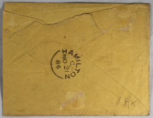 1866 philatelic cover 'GLASGOW PACKET PAID 1866' from Quebec Canada
