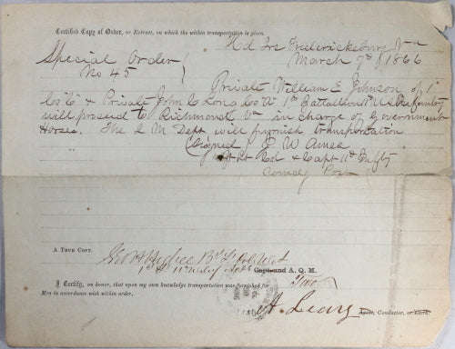 1866 post Civil War Railway Order of Transportation, Fredericksburg VA