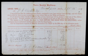 1867 Nova Scotia Railway notice of goods received