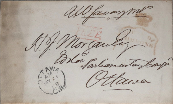 1868 Canada envelope from A.W. Savary, Member 1st Canadian Parliament