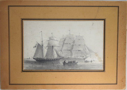 1868 pencil etching by Smith of two French warships