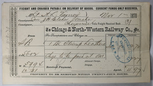 1870 Chicago & NW railway receipt for military supplies, Indian Wars #2