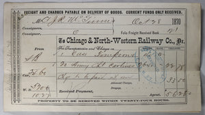 1870 Chicago & NW railway reeipt for military supplies, Indian Wars