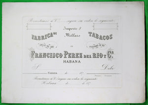 1870s proof print for cheques of Cuban cigar maker (Francisco Perez del Rio)