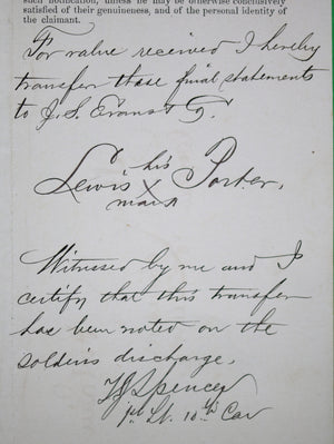 1872 discharge for 'Buffalo Soldier' 10th US Cavalry Fort Sill (Indian Territory)