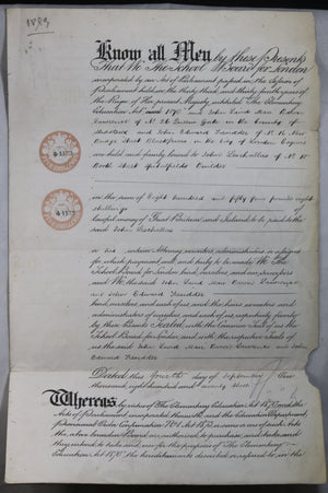 1873 contract document London (UK) School Board & builder