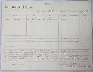 1874 Buffalo Soldier two documents 2nd Lieut. US 24th Infantry Rgt.