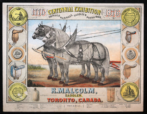 1876 Victorian advertising card R. Malcom, saddler (Toronto,Canada)