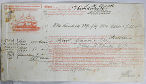 1878 maritime bill of lading, shipping champagne from London to Melbourne