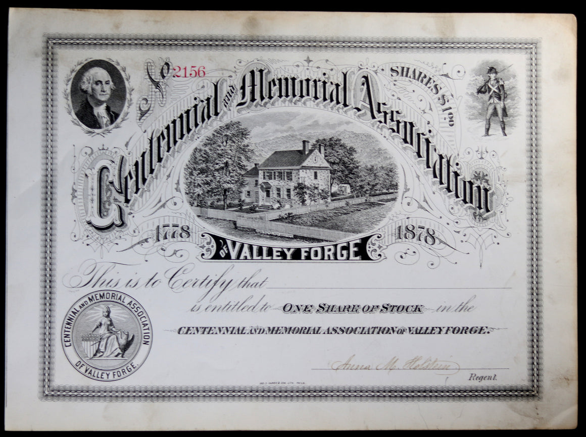 1878 share certificate Valley Forge Centennial Memorial Association