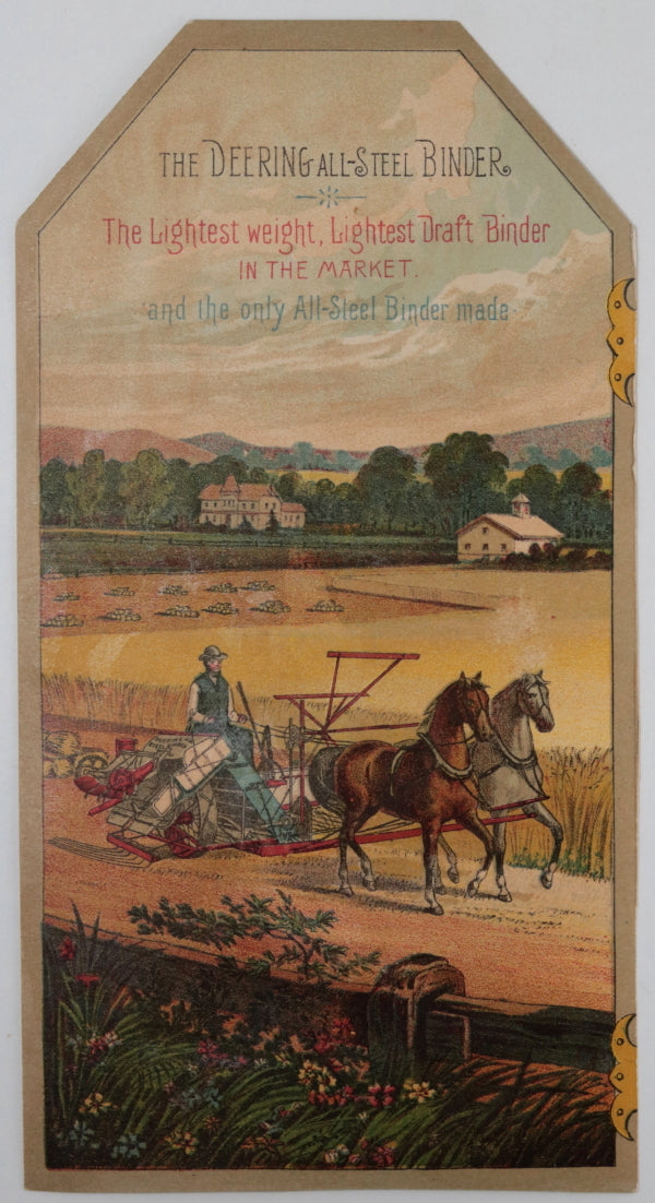 1880s advertising trade cards for Deering farming equipment