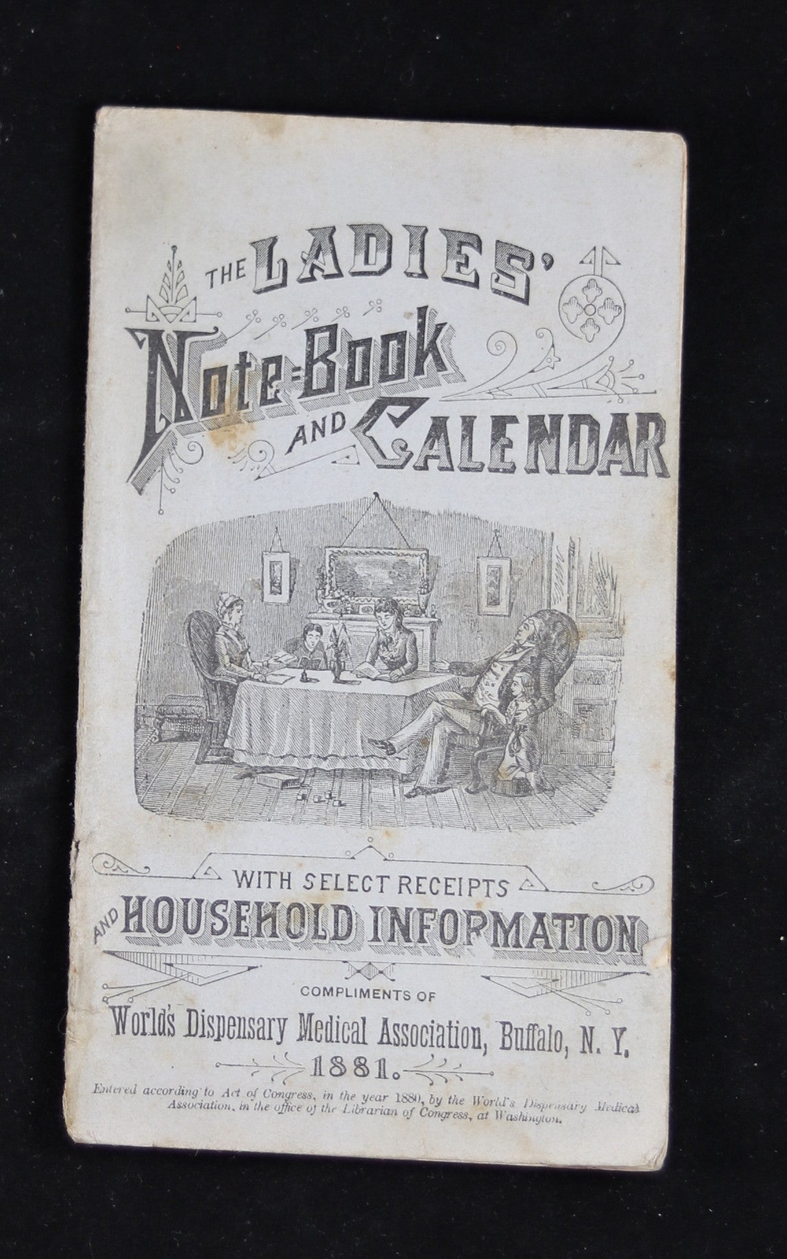 1881 Ladies Notebook and Calendar (Household info,recipes, and medicinal adv.)