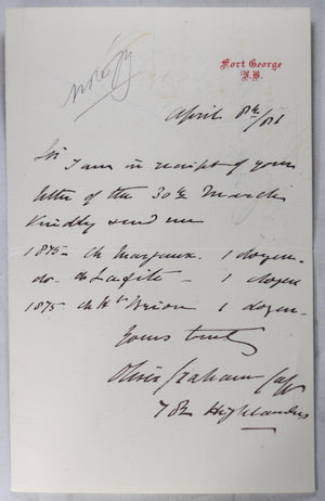 1881 wine order by Major Graham, 78th Highlanders Fort George Scotland