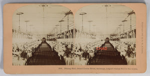 1882 stereoscopic photo 'Largest Dining Hall in the World – Saratoga' (USA)