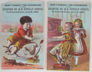 1882 two NYC Bedford St. Sunday School + Trade Cards