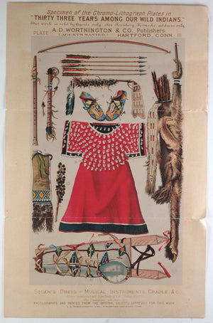 1883 chromo-litho plate of Aboriginal dress, instruments. (USA)