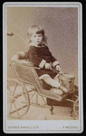 1884 Russian CDV child in stroller playing drum (Scherer Nabholz)