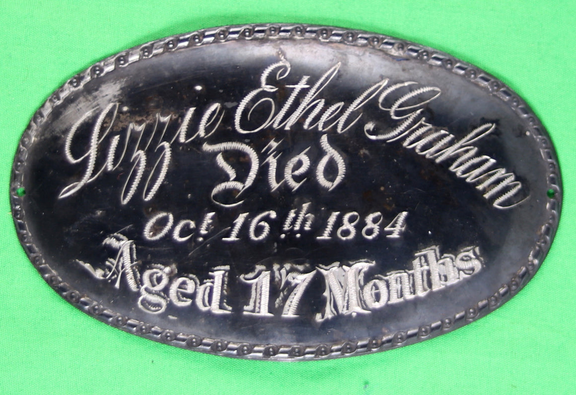 1884 Victorian Coffin plaque for 17 month old girl