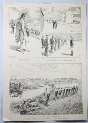 1885 End of Riel Rebellion, French illustrations de la fin de la Révolution Riel
