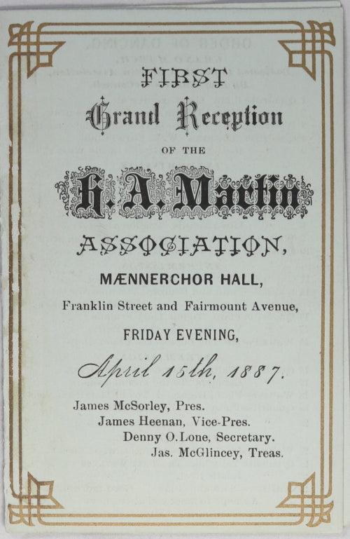 1887 dance card for Grand Reception Mænnerchor Hall (Philadelphia)