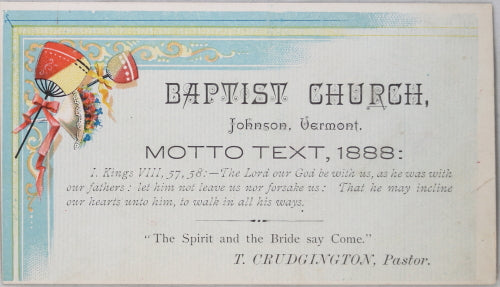 1888 Baptist Church, Johnson VT trade Card