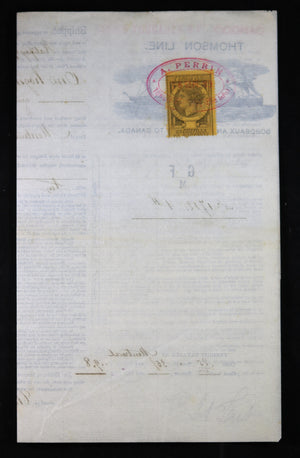 1889 Bill of lading shipment of Brandy - France to Montreal