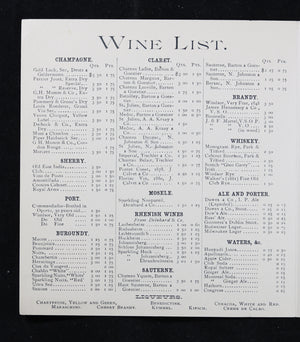 1890 Menu and Wine List for The Windsor – Montreal QC