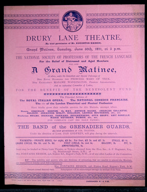 1891 Advertising flyer for fundraiser - Drury Lane Theatre London UK