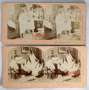 1892-9 Set of 4 stereoscopic photos young ladies & clothing