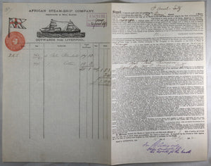 1892 Liverpool bill of lading, cotton and blankets to Loango Africa