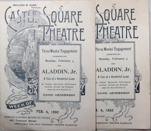 1895 two Boston Theatre programs for Aladdin, Jr.