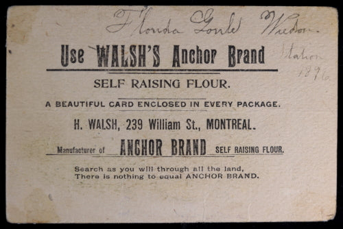 1896 Walsh's Anchor Brand flour trade card Montreal Canada
