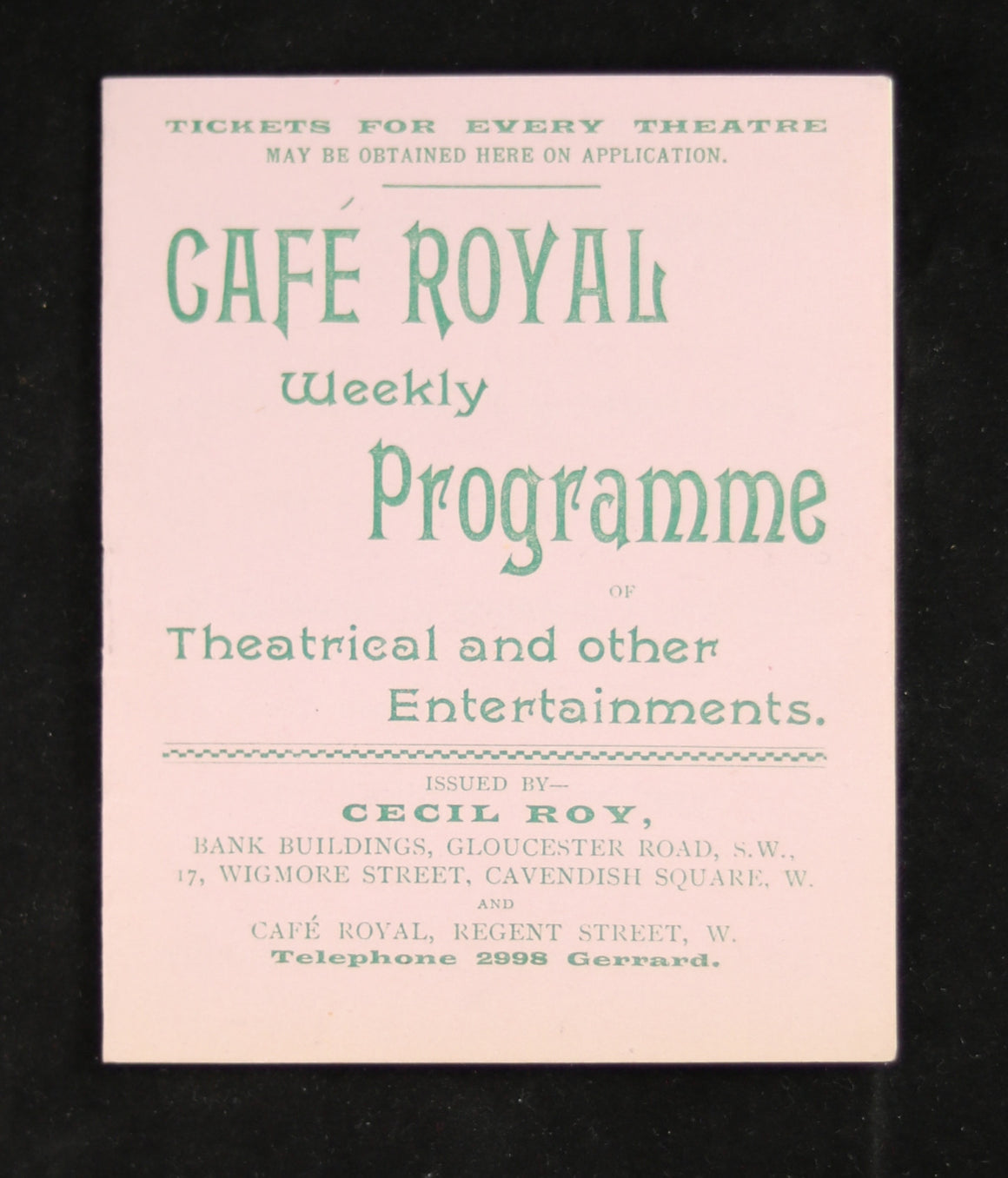 1898 London UK Cecil Roy Weekly Theatre Programme