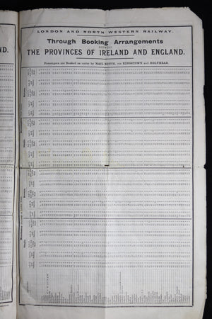 1898 Rail Schedule for London and North Western Railway