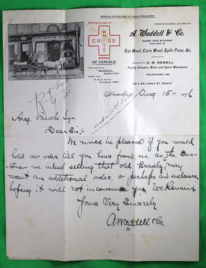 1898 letter with horse drawn cart grocer letterhead Waddell & Co. Hamilton ON