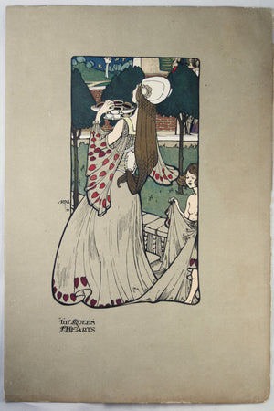 1899 book plate by Percy Gossop The Queen of Hearts""