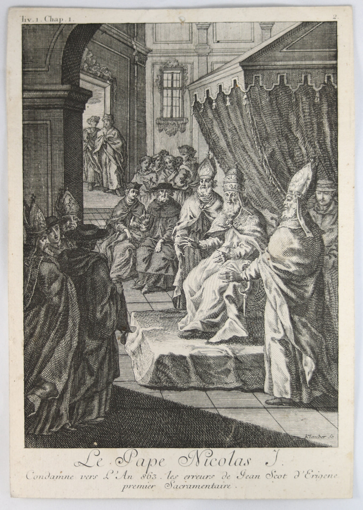 18th Century engraving of Pope Nicholas I by Klauber