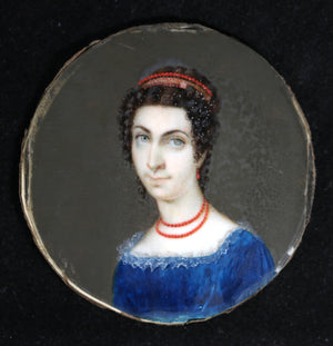 18th miniature portrait of noble lady (France?)