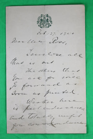 1900 - Letter from Canadian Member of Parliament