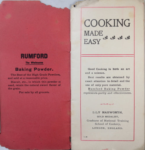 1900 'Cooking made Easy' by Lily Haxworth, Rumford Baking Powder