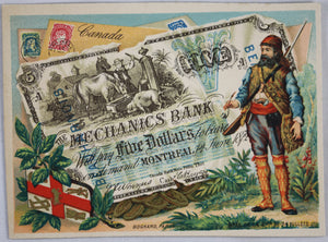 @1900 advertising card with Canadian currency image  Chromo